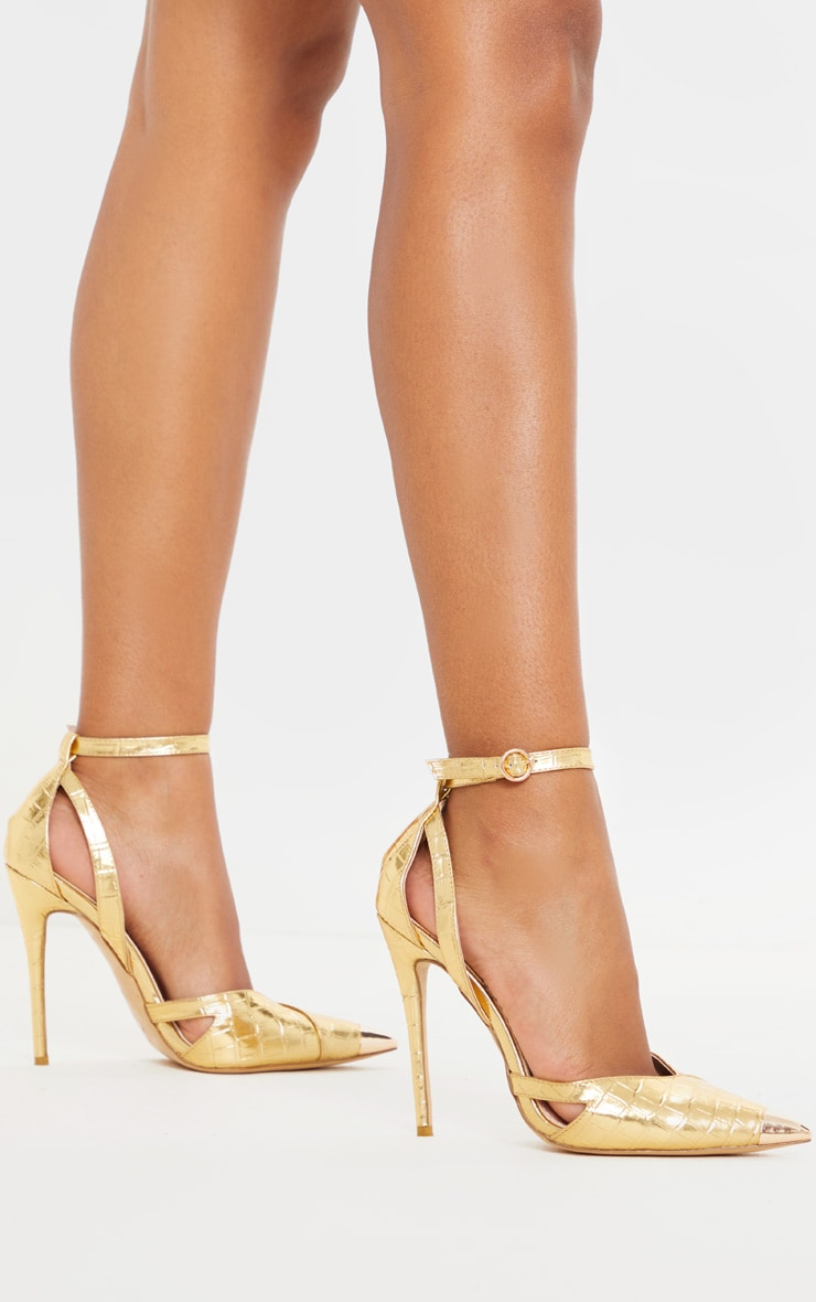 Gold Cut Out Heel Metal Toe Court Shoe 1