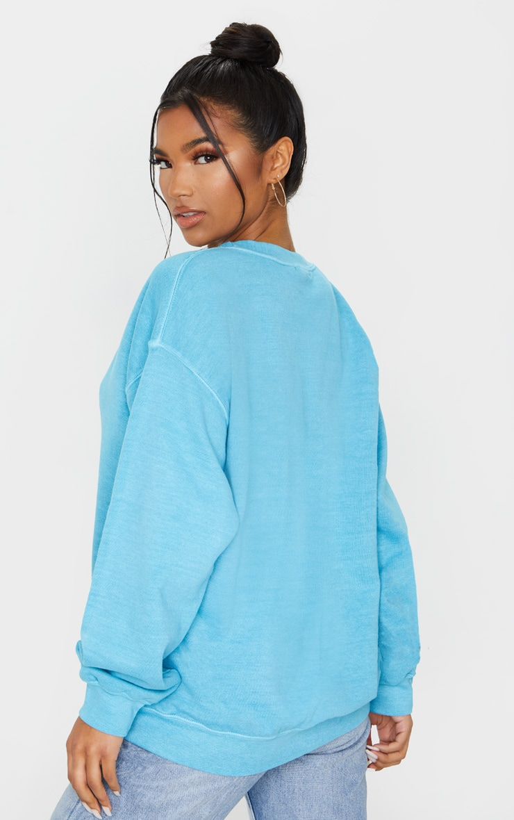 Dusty Turquoise Washed Oversized Sweater 2