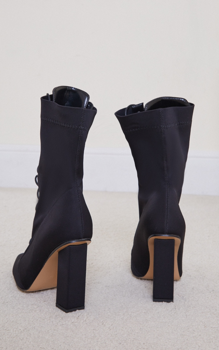 Black Lycra Lace Up Pointed Toe Block Heel Sock Boots 3