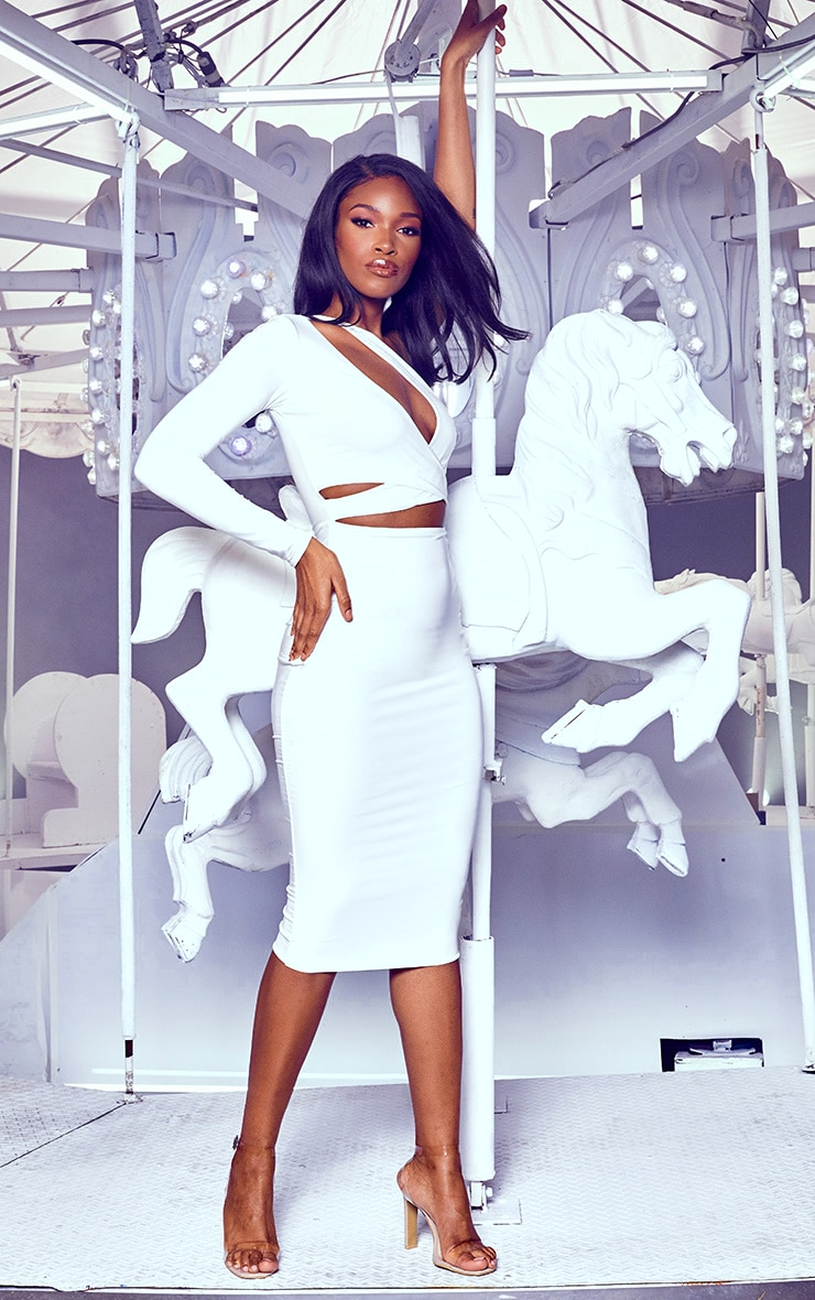 White Cut Out One Shoulder Midi Dress 4