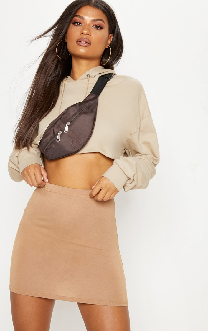Basic Camel Jersey Mini Skirt 1