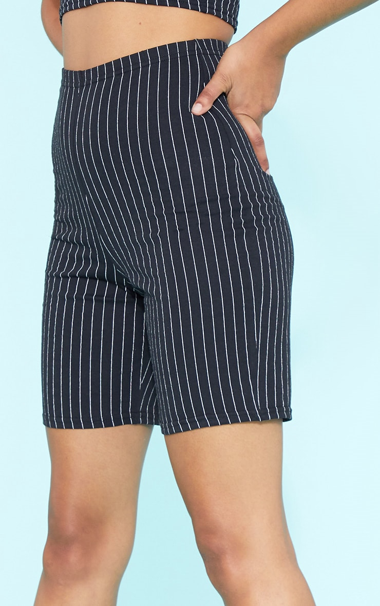 RECYCLE Black Pinstripe Bike Shorts 6