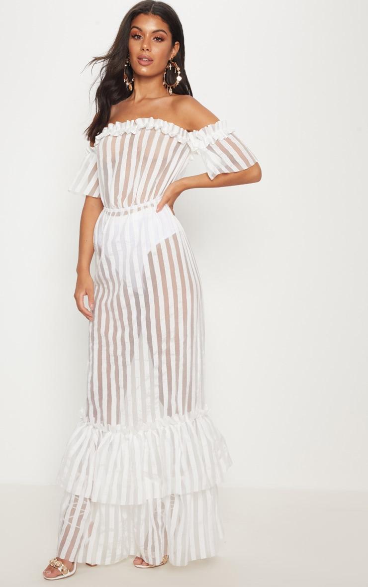 White Bardot Mesh Stripe Frill Hem Maxi Dress 1
