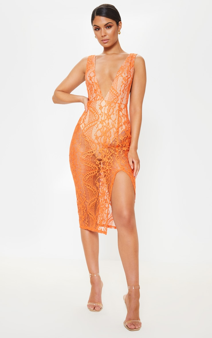 Bright Orange Lace Plunge Open Back Midi Dress 2