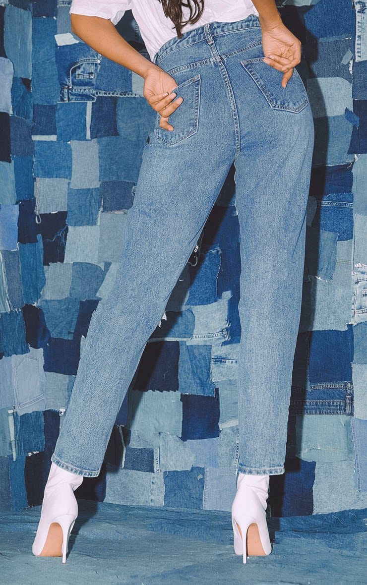 PRETTYLITTLETHING Mid Blue Distressed Mom Jean 4