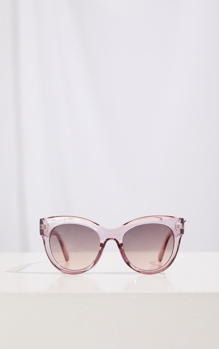 Dark Pink Clear Cat Eye Sunglasses 2