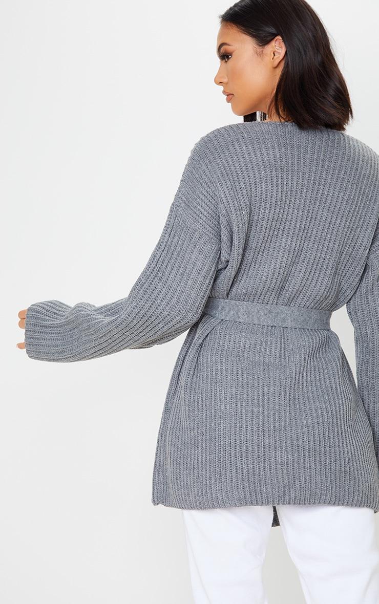 Grey Chunky Knit Wrap Cardigan 2
