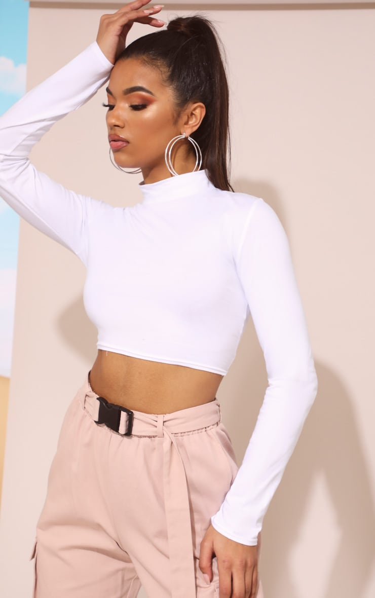 White High Neck Long Sleeve Crop Top 2