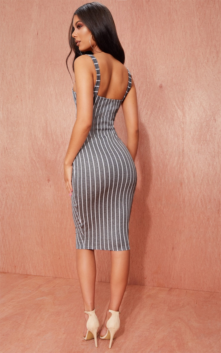 Grey Striped Midi Dress 2