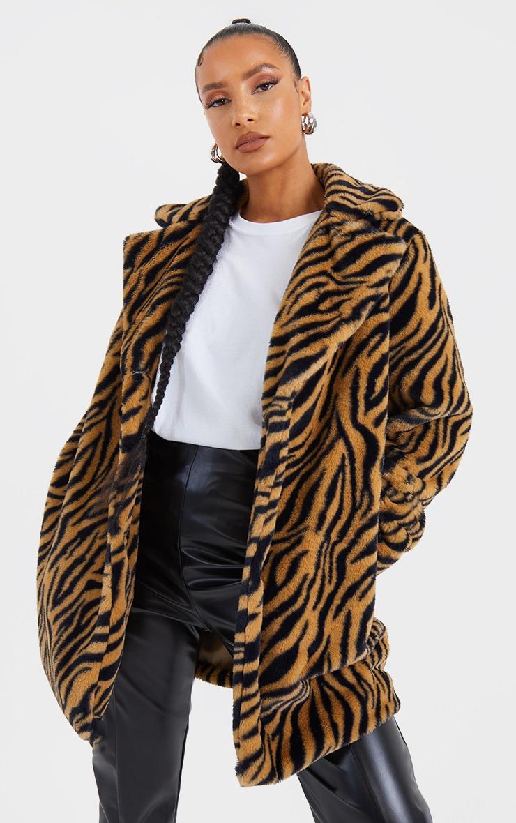 Brown Faux Fur Tiger Print Coat 3