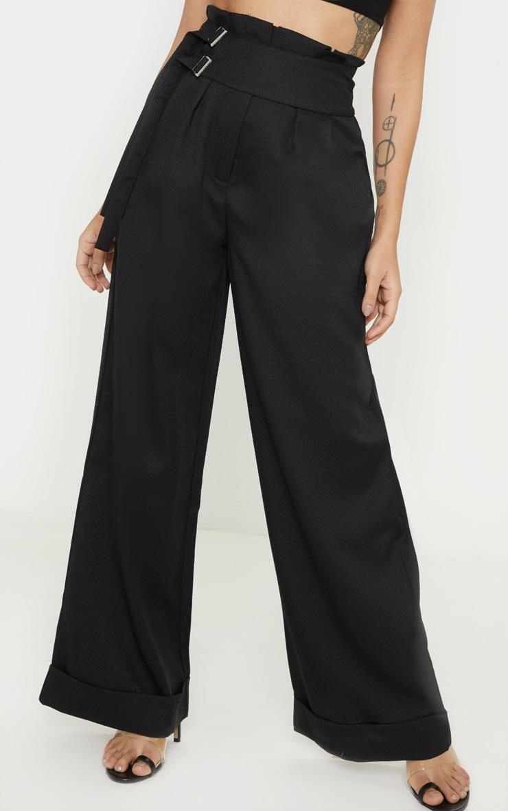 Petite Black Paperbag Pleated Wide Leg Pants 2