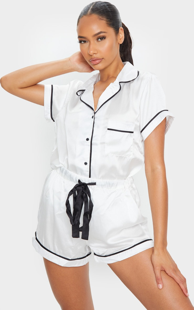 White With Contrast Pipe Detail Satin PJ Set 3
