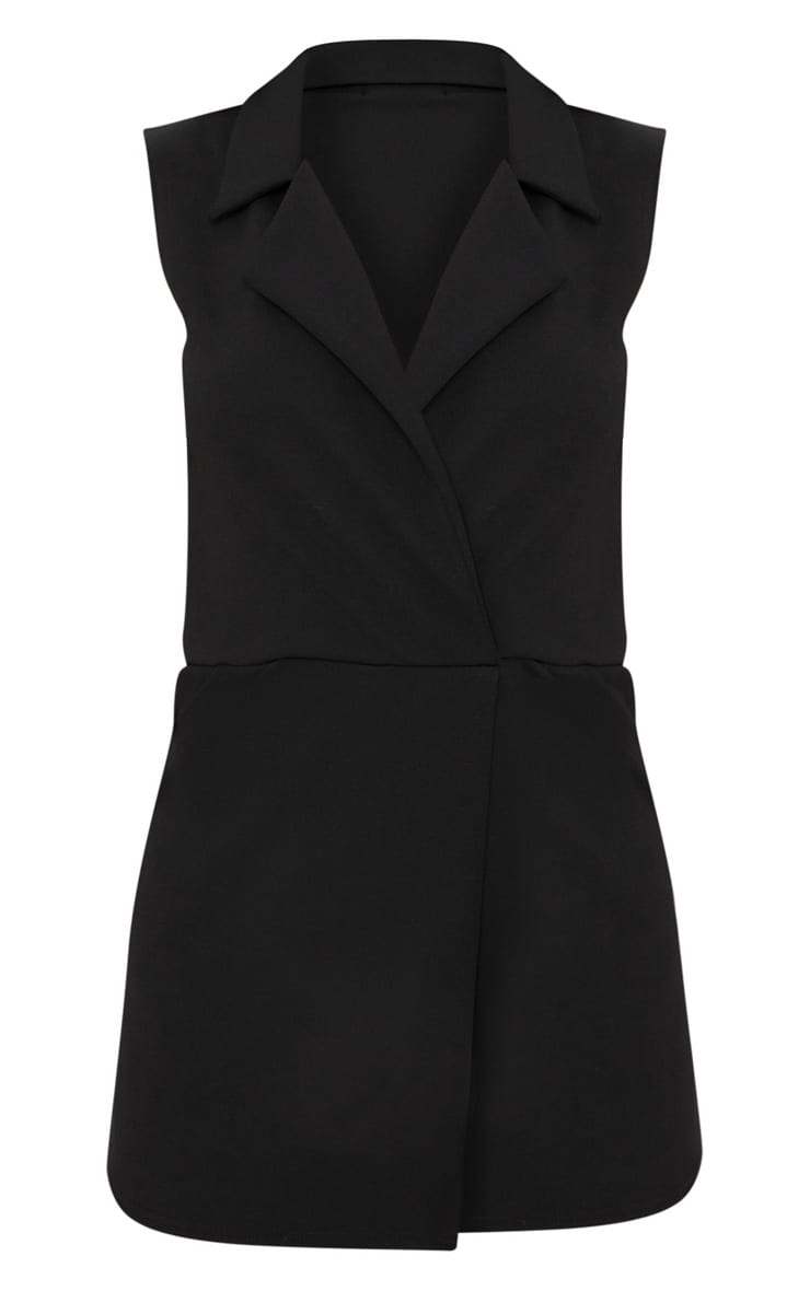 Black Sleeveless Tux Style Playsuit 3