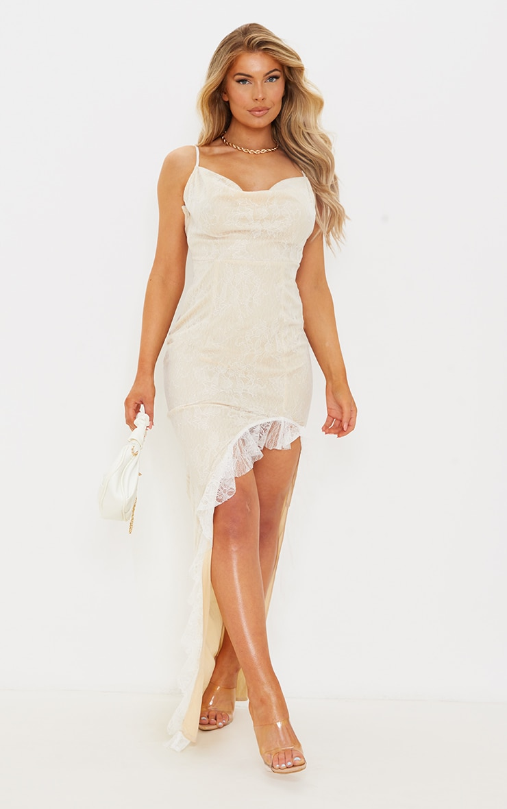 White Lace Ruched Bum Strappy Maxi Dress 1