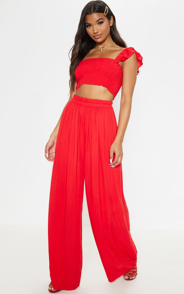 Red Woven Wide Leg Trousers