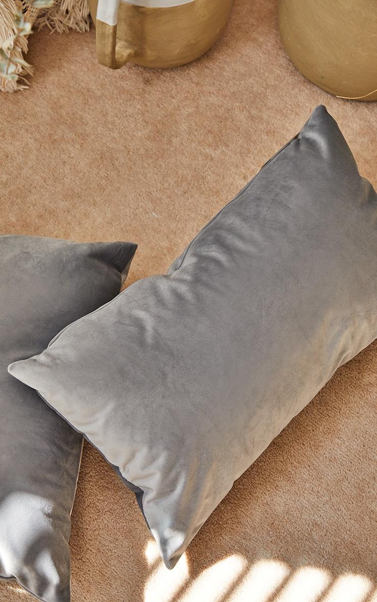 Grey Rectangle Velvet Filled Cushion 3