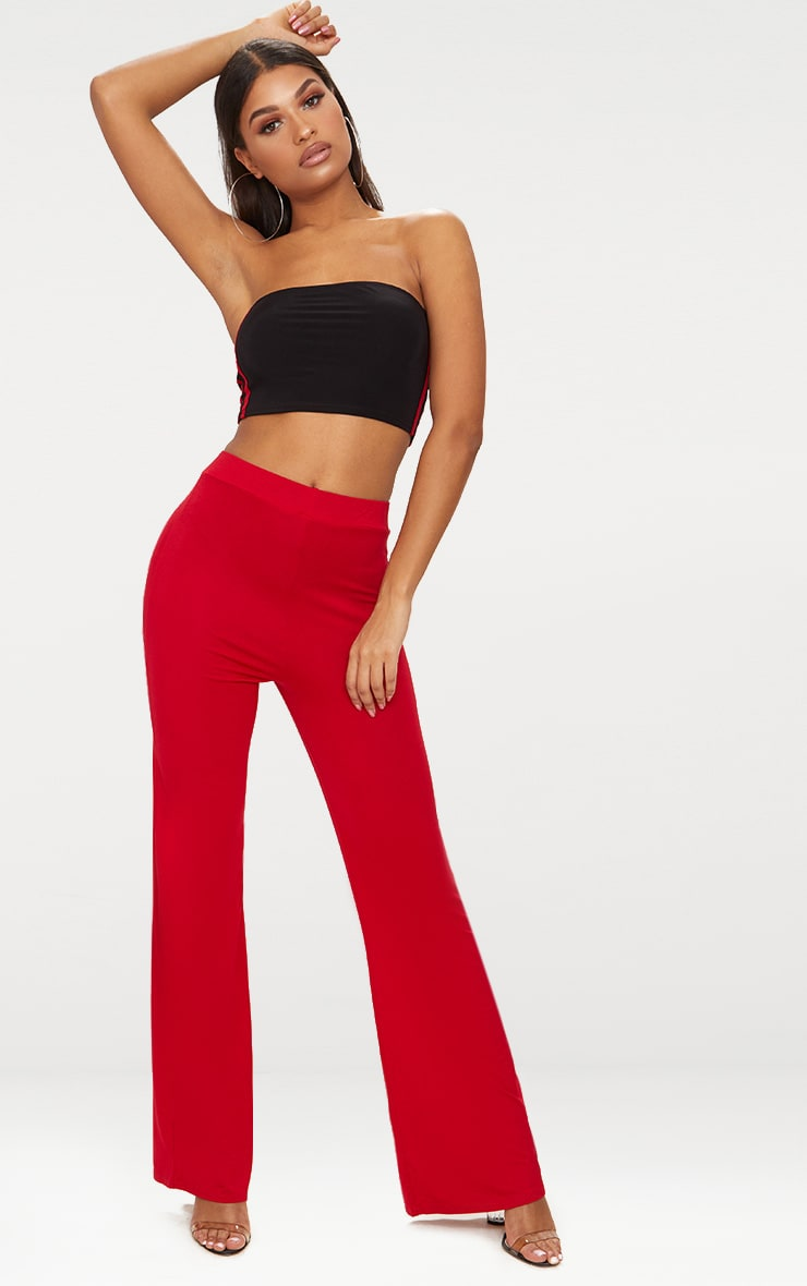 Red Basic Jersey Wide Leg Trousers 1