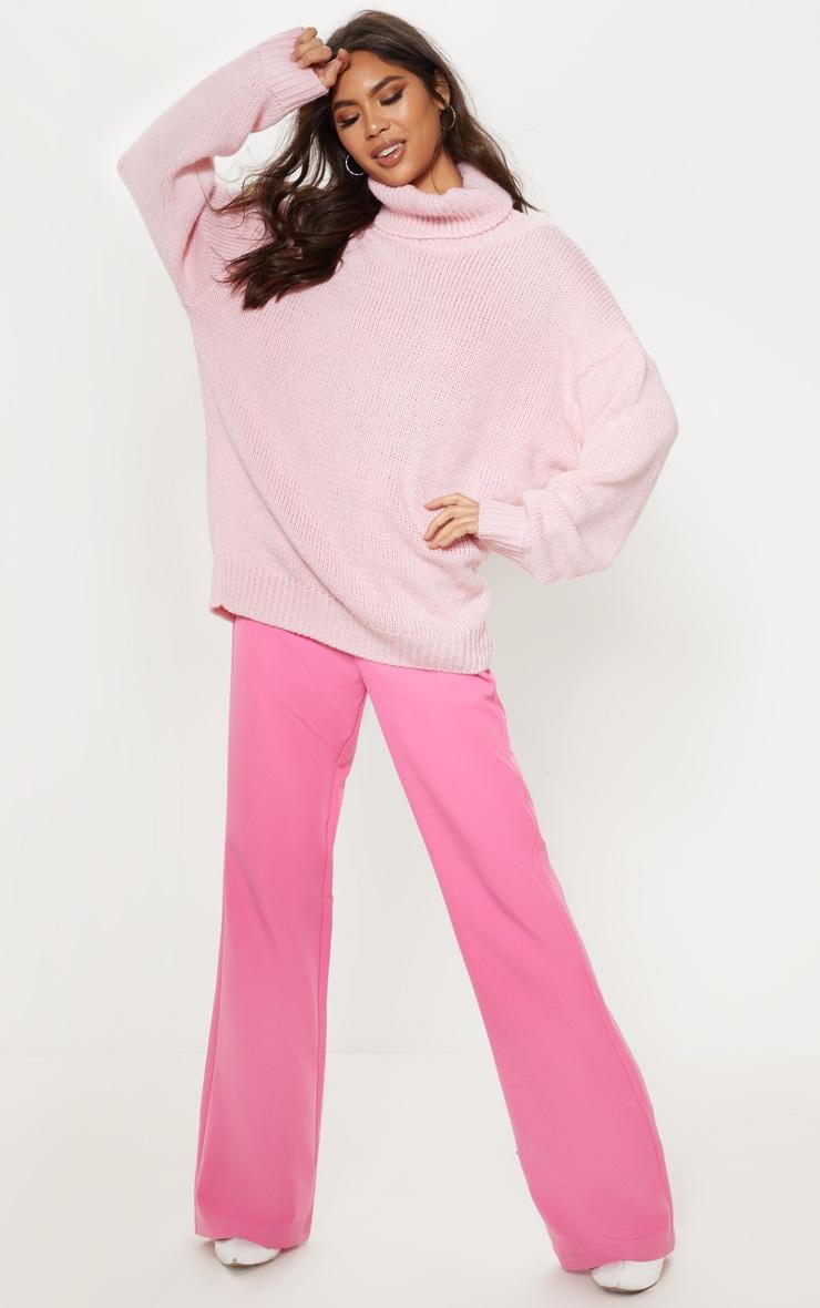 Pink High Neck Fluffy Knit Sweater 1