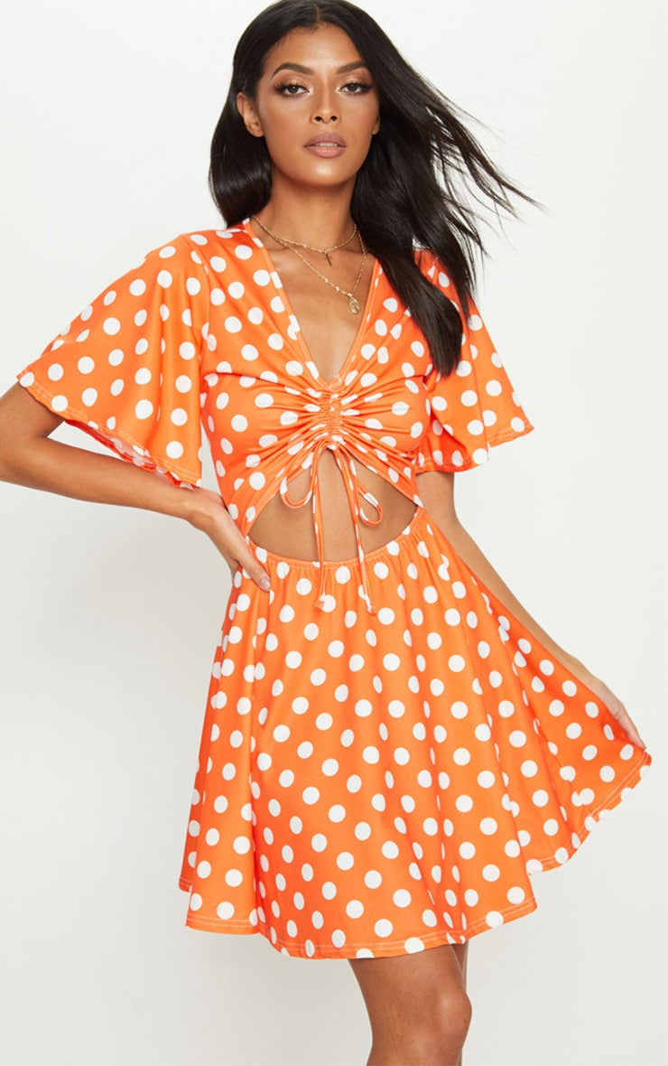 Bright Orange Polka Dot Cut Out Ruched Detail Swing Dress