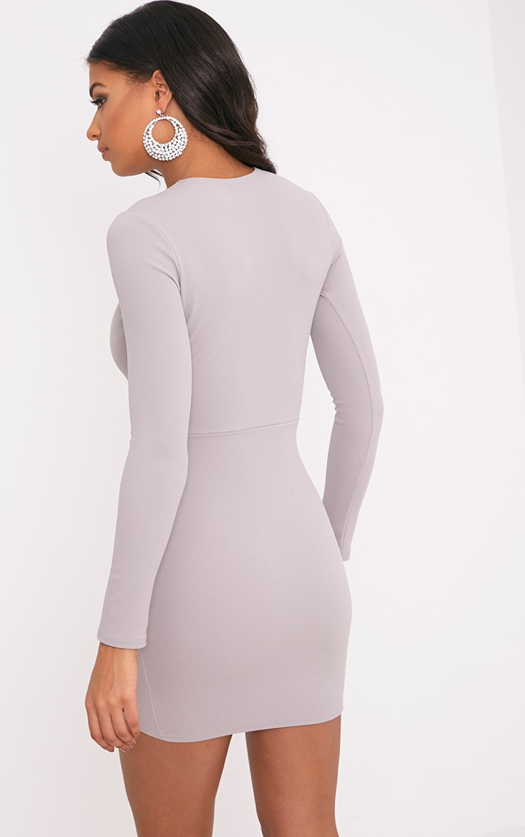 Dove Grey Long Sleeve Wrap Skirt Bodycon Dress 2
