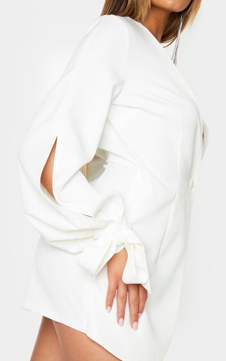 White Tie Cuff Button Front Romper 4