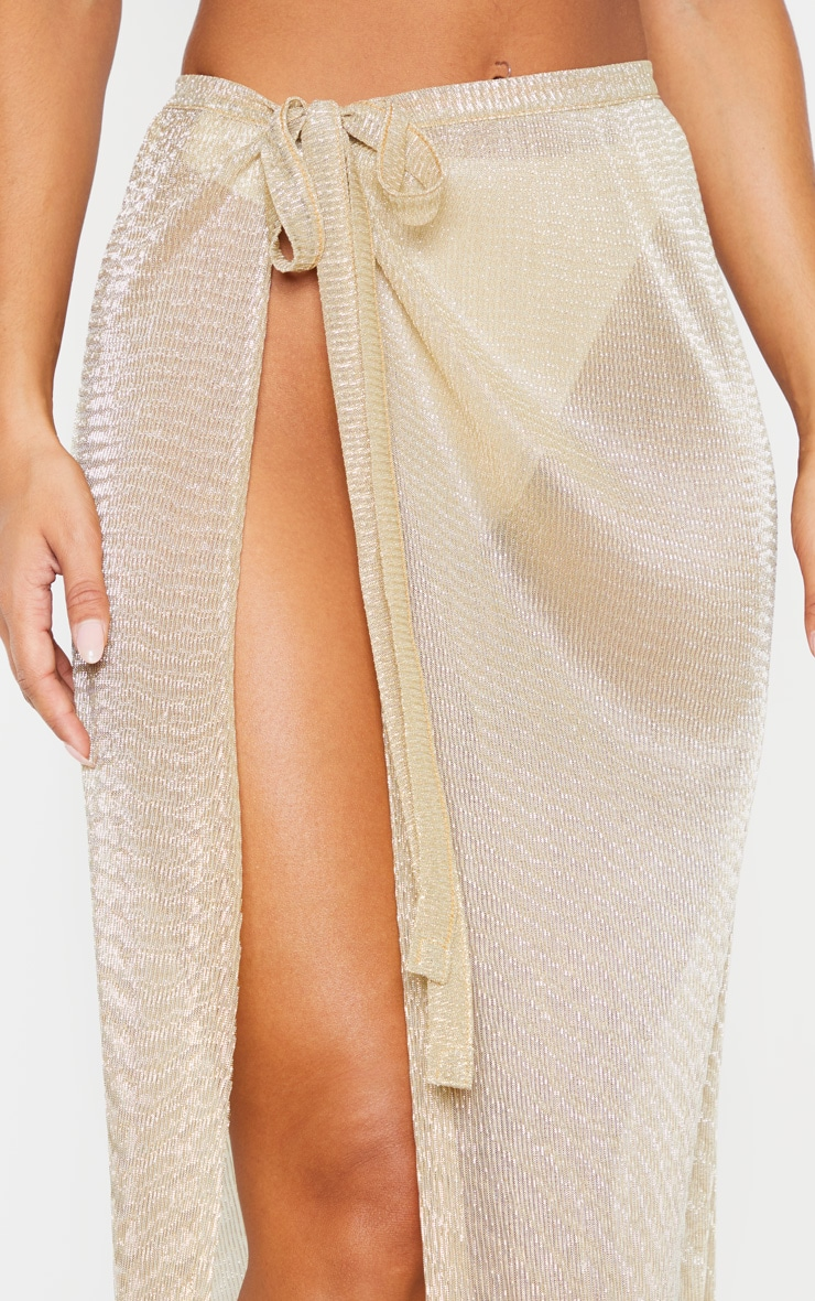 Gold Metallic Plisse Beach Sarong 5