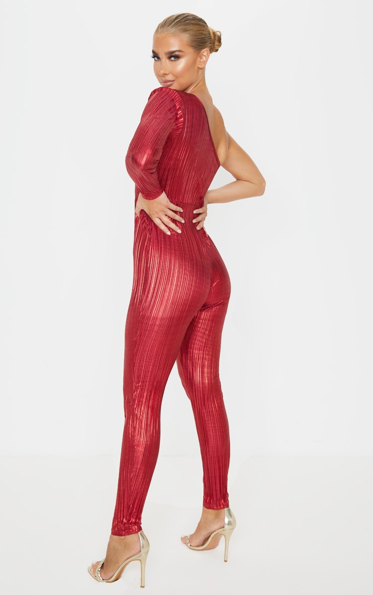 Red Plisse One Shoulder Jumpsuit 2
