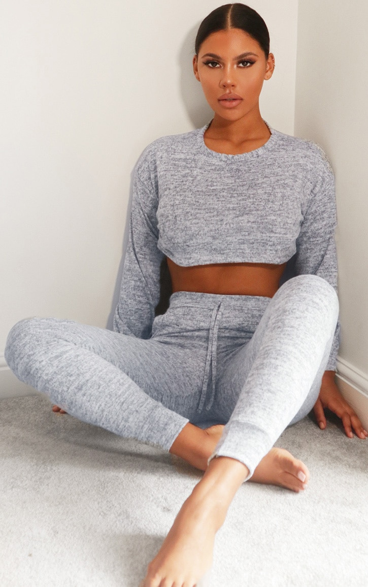 Grey Crop Brushed Knitted Lounge Set 1
