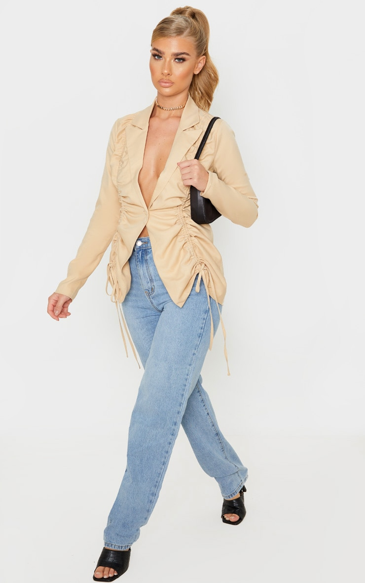 Stone Woven Ruched Detail Fitted Jacket 1