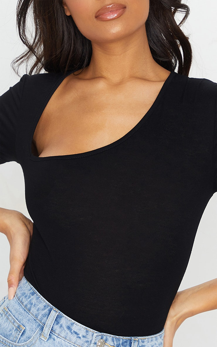 Black Short Sleeve Asymmetric Neck Bodysuit 4