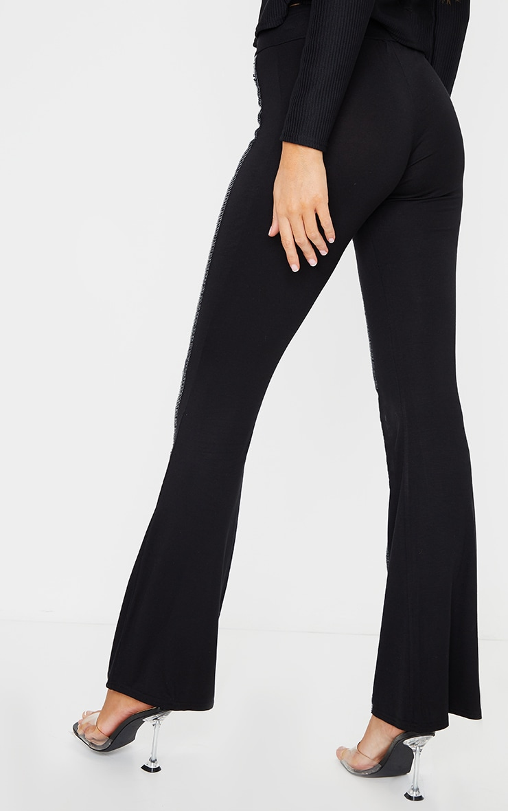 Black Overlock Seam Detail Flared Trousers 4