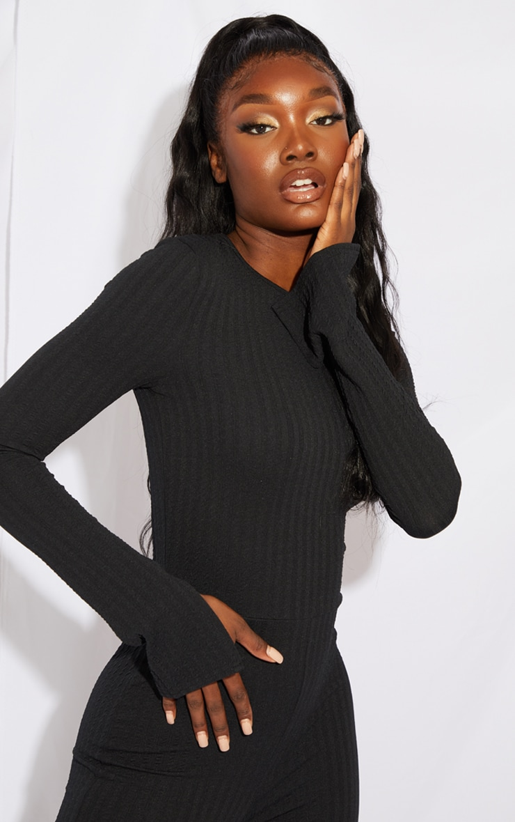 Tall Black Knitted Long Sleeve Split Hem Jumpsuit 4