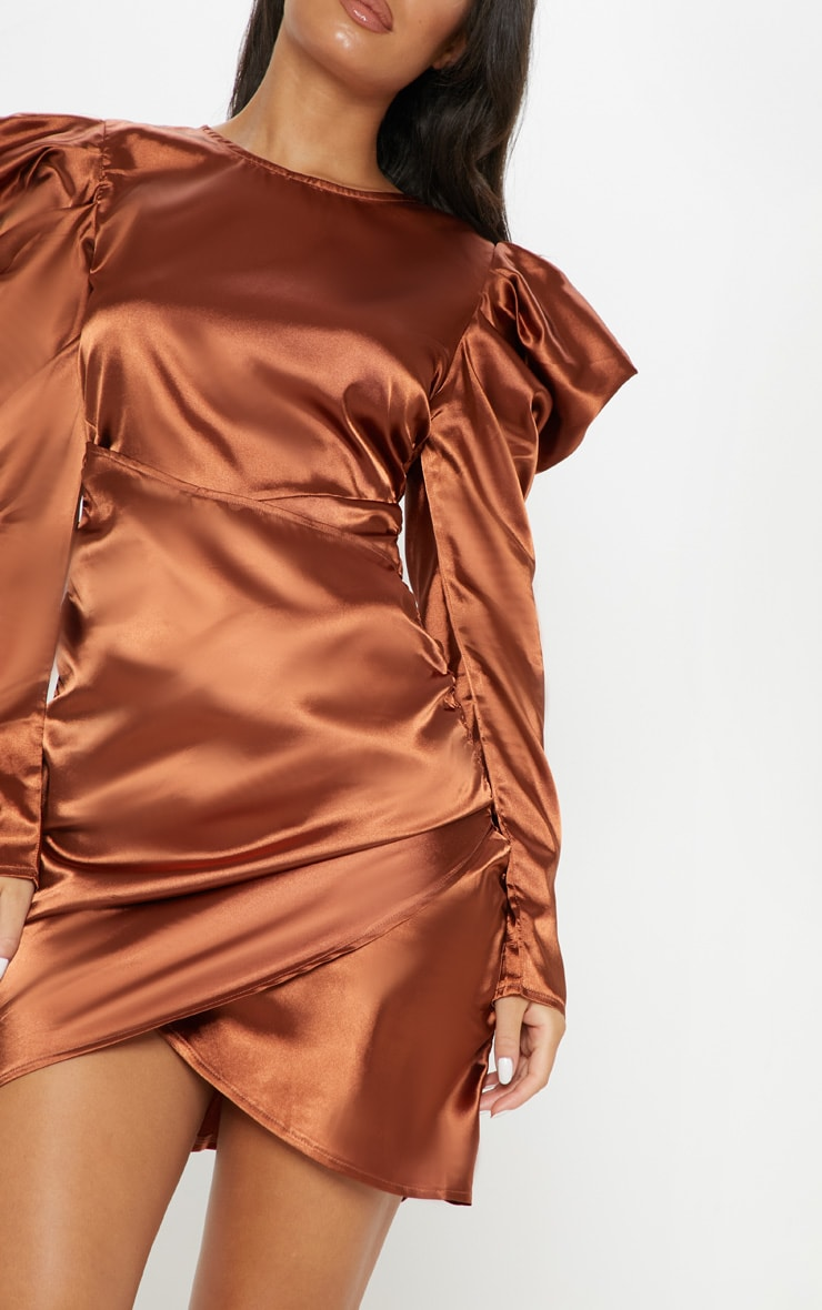 Copper Satin Puff Sleeve Ruched Bodycon Dress 5