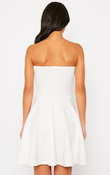 a18540b2ac19 Marissa Cream Strapless Skater Dress | PrettyLittleThing