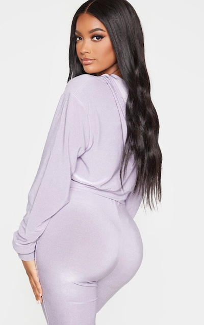 Shape Lilac Glitter Zip Detail Crop Hoodie