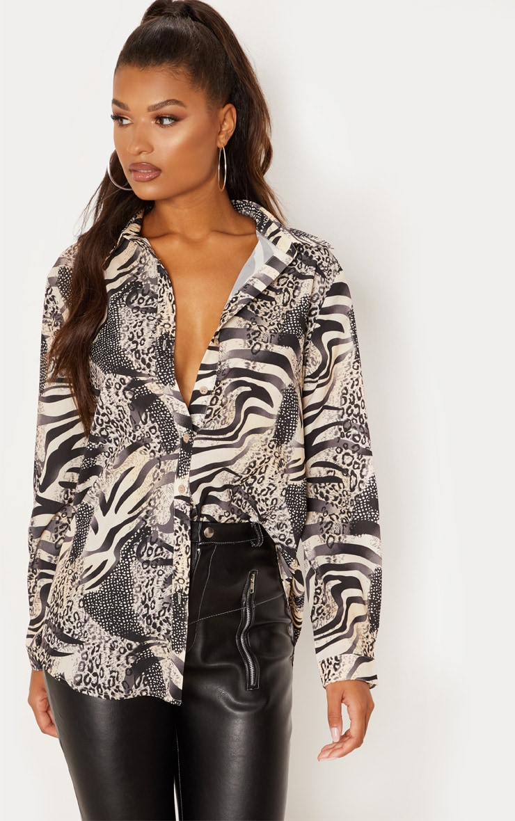 Grey Animal Print Oversized Shirt 1