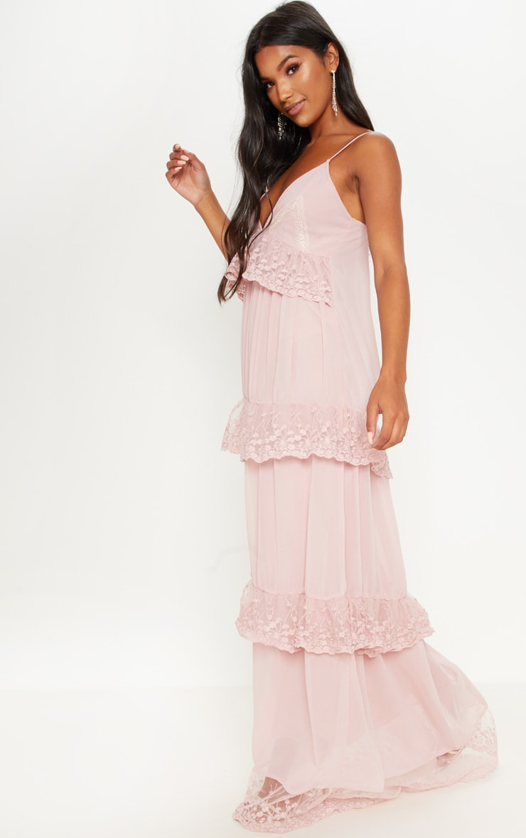 Dusty Pink Lace Frill Detail Maxi Dress 4