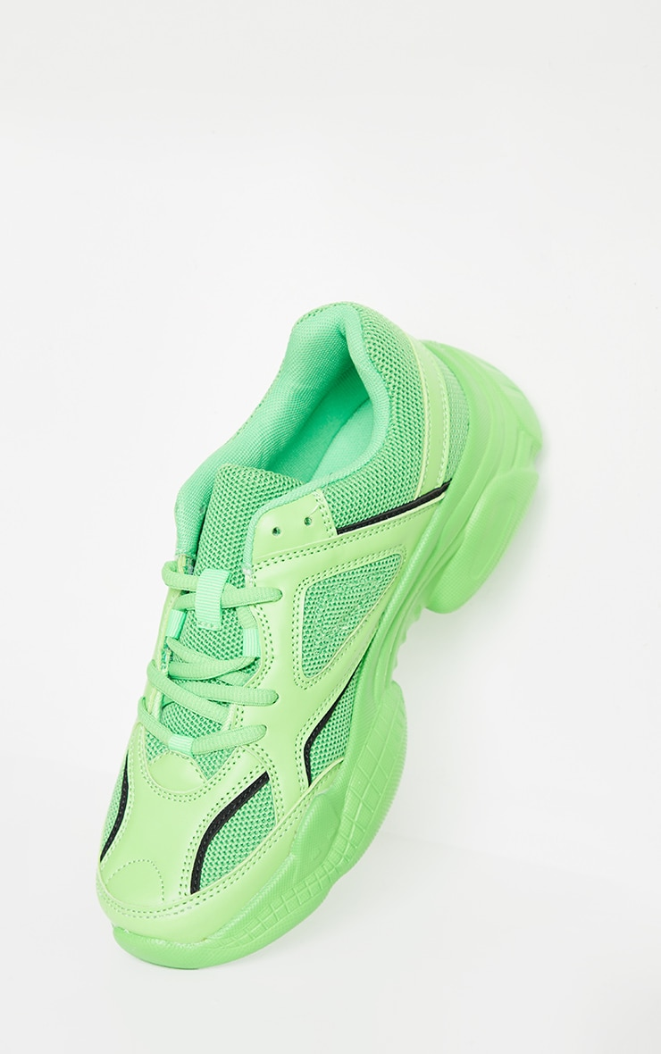Green Reflective Panel Arch Sole Chunky Sneakers 3