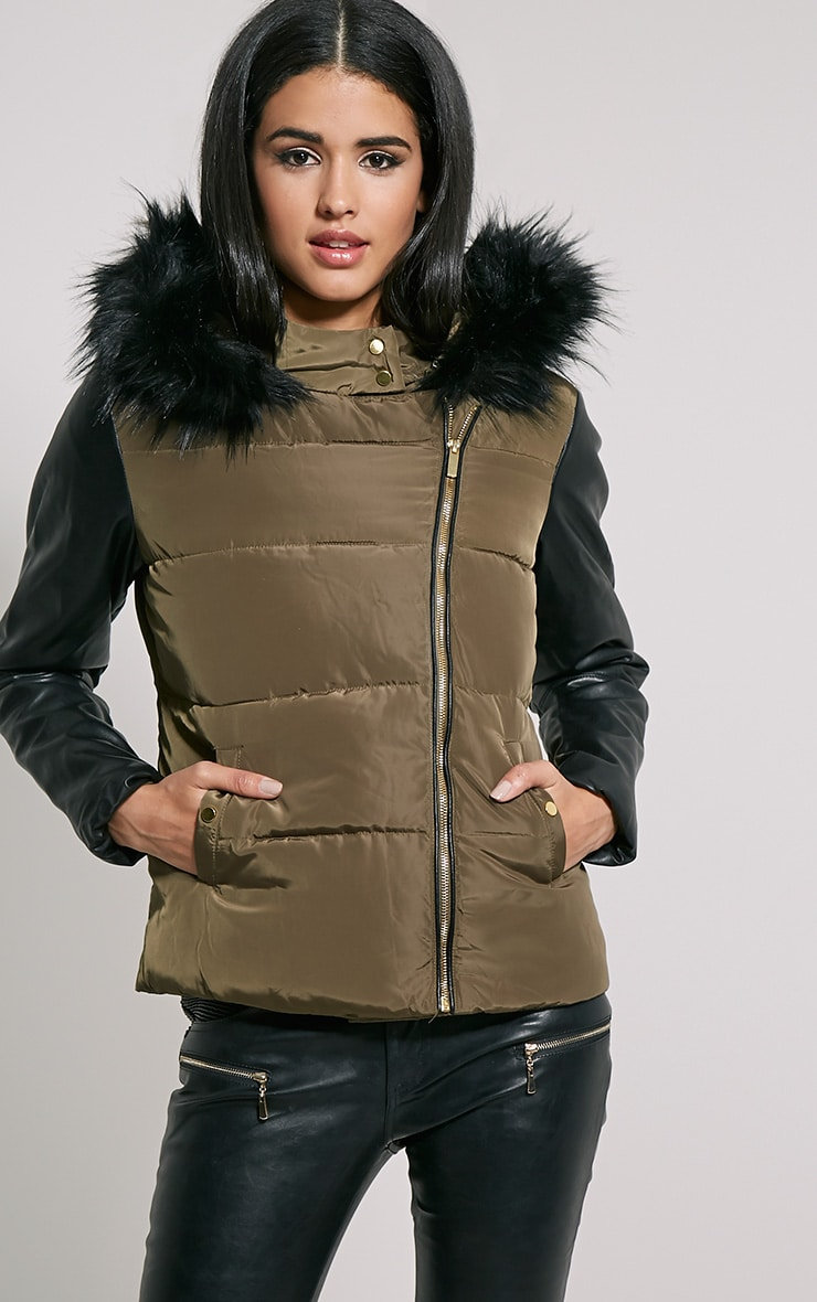 Joelle Khaki Faux Leather Sleeve Fur Hood Jacket 4