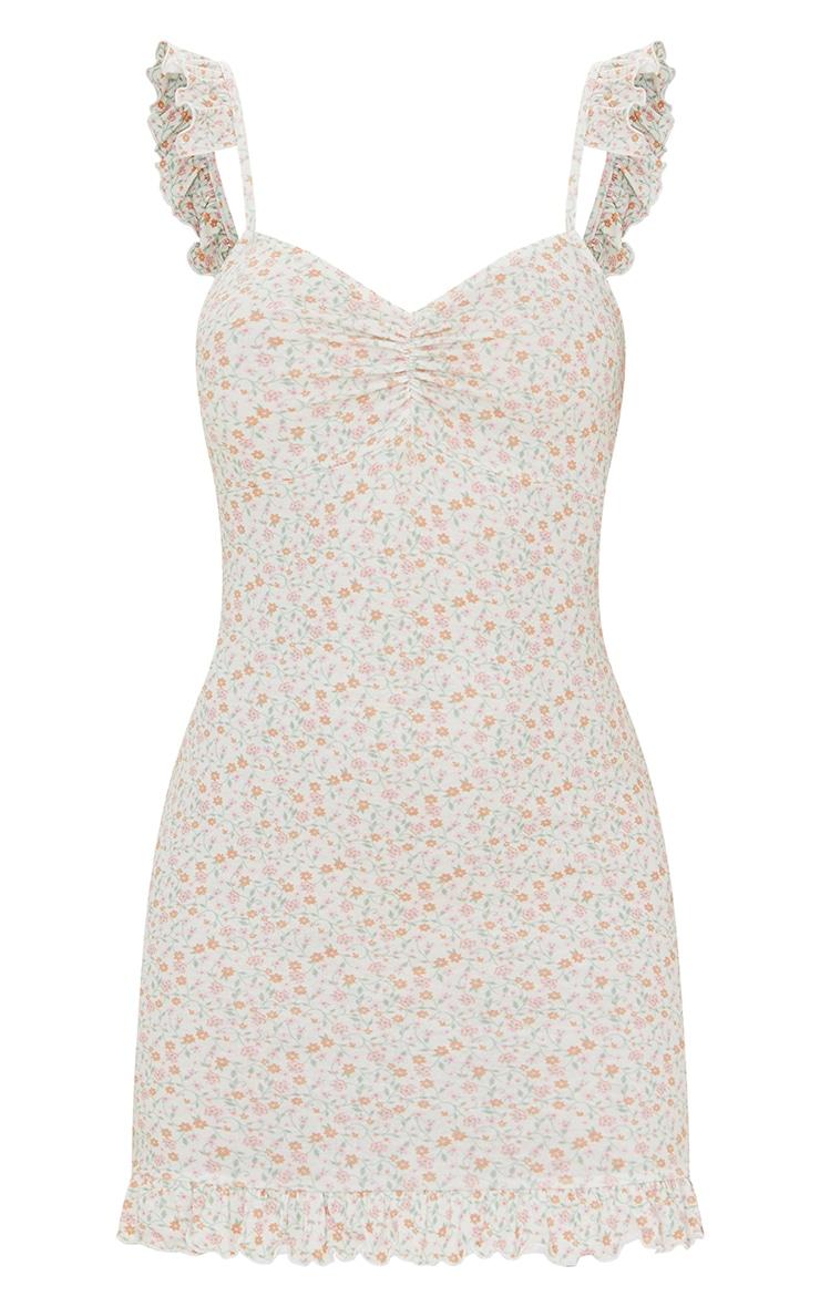 Cream Ditsy Print Frill Bow Tie Detail Bodycon Dress 5