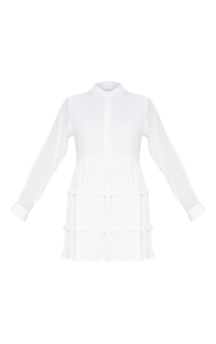 White Shirt Layer Frill Dress 3