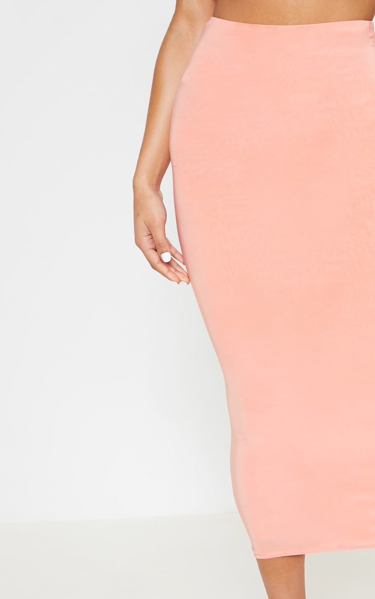 Peach Second Skin Slinky Longline Midi Skirt 5
