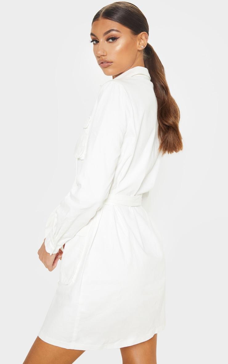 Tall White Utility Tie Waist Shirt Dress 3