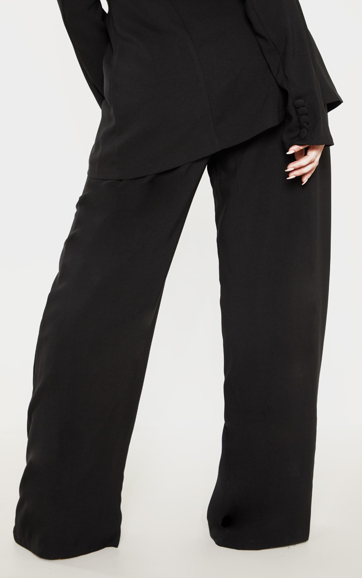 Plus Black Button Detail Wide Leg Pants 4
