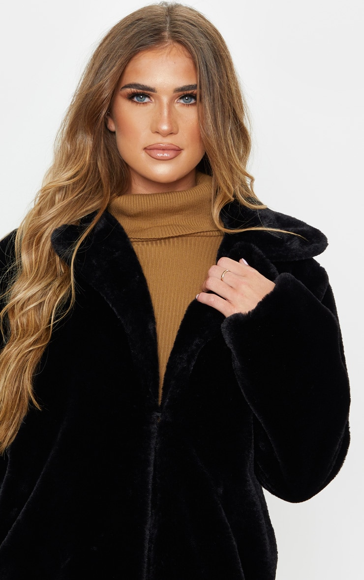 Black Faux Fur Midi Collar Coat 5