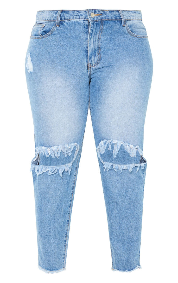 Plus Mid Wash Extreme Knee Rip Straight Leg Cropped Jean 3