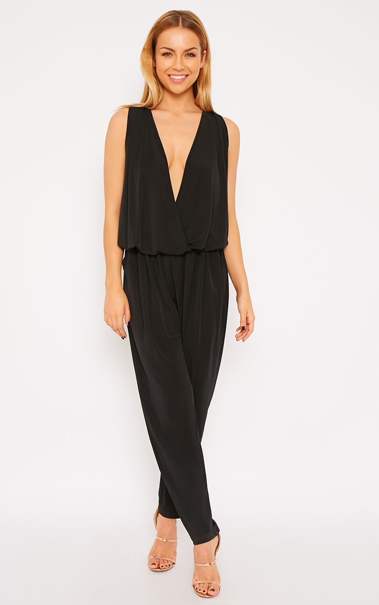 Agneta Black Wrap Front Jumpsuit  3