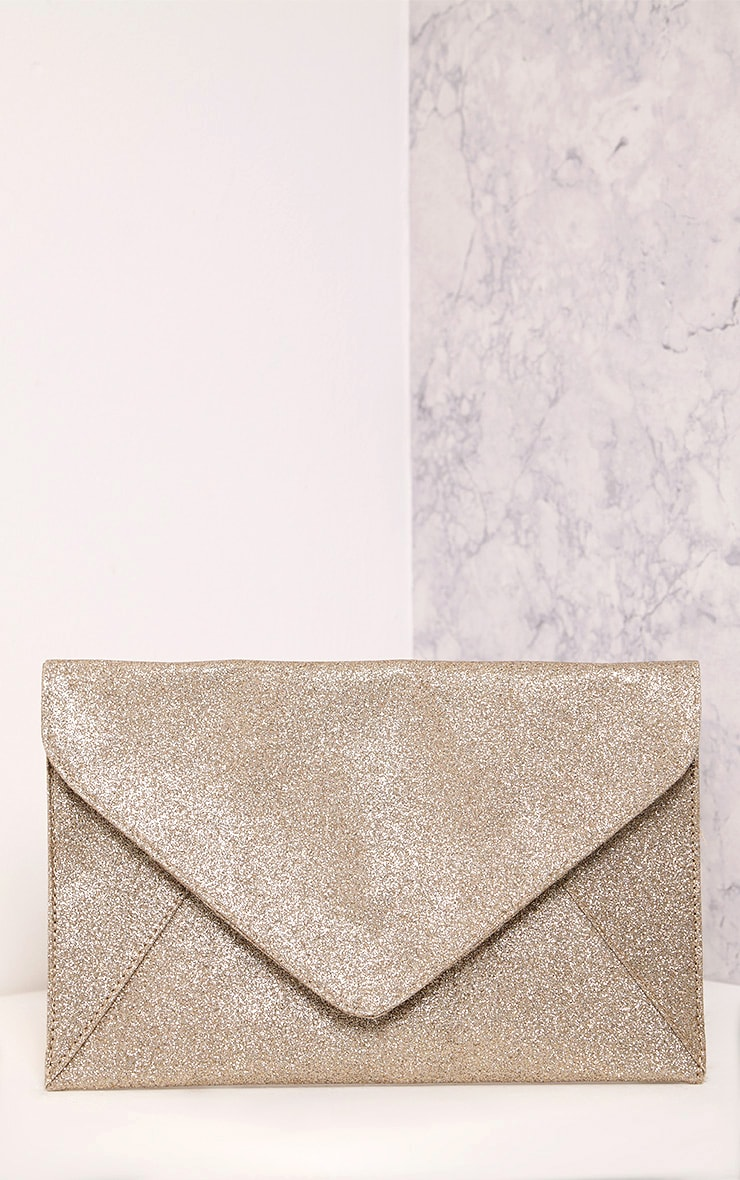 Paige Rose Gold Glitter Clutch Bag 3