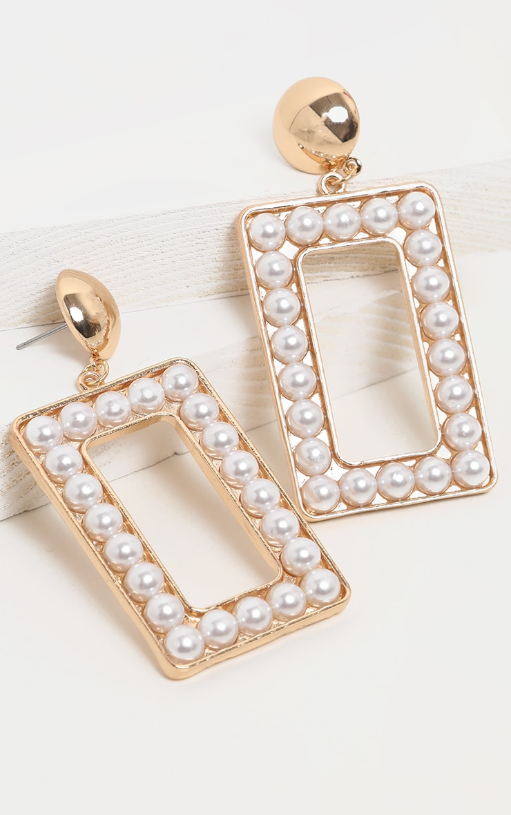 Gold Pearl Large Rectangle Door Knocker Earing 3
