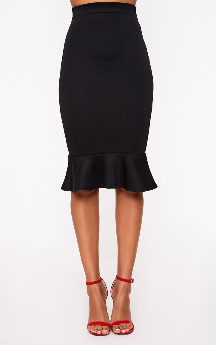 Black Fishtail Midi Skirt 2